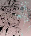 1other 2boys belt bleeding blood blue_eyes brown_theme dagger dark_persona darkest_dungeon dual_persona evil_grin evil_smile fur_trim ghost glasgow_smile gradient gradient_background grin highwayman_(darkest_dungeon) holding holding_dagger holding_weapon injury knife multiple_boys open_clothes open_shirt pants robe severed_head short_hair skeleton skull smile spine spot_color the_collector_(darkest_dungeon) time_paradox torn_clothes undead varamill weapon