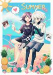2boys :d bangs beach bicycle black_shirt blush border cheer_(cheerkitty14) closed_eyes clouds cocktail collarbone commentary commission cup dangan_ronpa_(series) dangan_ronpa_v3:_killing_harmony dated day drinking drinking_glass drinking_straw english_commentary food fruit grey_eyes grey_shorts ground_vehicle hair_between_eyes heart highres holding hood hoodie keebo male_focus multiple_boys notice_lines open_mouth orange_(food) ouma_kokichi outdoors photo_(object) pineapple shirt short_sleeves shorts shrine sitting smile spoken_heart summer sweat white_border white_hoodie