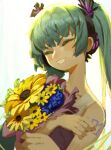 1girl absurdres aqua_hair bangs bare_shoulders bouquet closed_eyes collarbone commentary english_commentary flower grin hair_ornament happy hatsune_miku headphones headphones_removed highres holding holding_bouquet long_hair sidelocks simple_background smile solo sunflower tattoo teeth topdylan twintails upper_body v-shaped_eyebrows vocaloid white_background