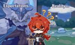 1boy ? antenna_hair artist_request black_gloves black_jacket black_pants blush_stickers bush chibi closed_mouth clouds diluc_(genshin_impact) english_text expectations/reality frozen_lake genshin_impact gloves grass hilichurl_(genshin_impact) holding holding_paper holding_sword holding_weapon horns jacket long_hair long_sleeves mask night official_art outdoors outline pants paper planted planted_sword ponytail red_eyes redhead slime_(genshin_impact) snowflakes standing sword tree vision_(genshin_impact) weapon
