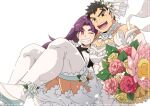 1boy 1girl :d ;d bare_shoulders black_suit bouquet bow bowtie bridal_legwear bride carrying couple crossdressinging flower head_to_head hetero holding holding_bouquet husband_and_wife long_hair male_cleavage male_focus muscular muscular_male one_eye_closed onizuka_momoko open_mouth original pectorals princess_carry purple_hair re:ar ryanpei short_hair sideburns sidepec smile thick_thighs thigh-highs thighs tonogawachi_tatsuomi white_flower white_legwear