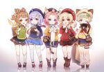 5girls :d ahoge alternate_costume animal animal_ear_fluff animal_ears arm_behind_back bag bandaged_leg bandages bangs bangs_pinned_back bell beret black_footwear black_headwear black_shirt black_skirt blonde_hair blue_eyes blue_shorts blue_skirt blunt_bangs boots bow braid brown_bow brown_eyes brown_footwear brown_hair brown_skirt cabbie_hat casual cat cat_ears cat_girl cat_tail coconut collared_shirt commentary contemporary diona_(genshin_impact) drinking_straw english_commentary eyebrows_visible_through_hair fake_animal_ears flower forehead fruit_cup genshin_impact green_shirt hair_bell hair_between_eyes hair_bow hair_ornament hair_rings handbag hands_up hat highres holding holding_animal jingle_bell kezi klee_(genshin_impact) kneehighs leaf_hair_ornament long_hair long_sleeves looking_at_viewer low_twintails multiple_girls ofuda one_eye_closed open_mouth pink_hair pleated_skirt pointy_ears puffy_long_sleeves puffy_shorts puffy_sleeves purple_hair qiqi_(genshin_impact) red_flower red_headwear red_sweater reflection revision sack sayu_(genshin_impact) school_uniform serafuku shirt shoes short_eyebrows short_hair short_shorts shorts shorts_under_skirt shoulder_bag sidelocks signature silver_hair single_braid skirt sleepy smile socks standing sweater symbol-only_commentary tail thick_eyebrows thigh-highs twintails two_side_up very_long_hair violet_eyes w white_background white_legwear white_shirt white_shorts yaoyao_(genshin_impact) yellow_shirt