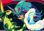 altaria black_background black_eyes bright_pupils claws commentary_request flygon gen_3_pokemon highres jacknaiff looking_at_viewer no_humans open_mouth outline pokemon pokemon_(creature) salamence white_pupils