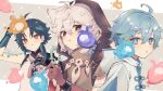 3boys :t ahoge antenna_hair arm_tattoo bangs bead_necklace beads blue_hair blush brown_gloves chongyun_(genshin_impact) closed_mouth facial_mark forehead_mark genshin_impact gloves green_hair grey_hair hair_between_eyes highres hood hood_down hood_up jewelry light_blue_eyes light_blue_hair long_hair male_focus multicolored_hair multiple_boys musical_note necklace parted_lips razor_(genshin_impact) red_eyes riiichi5 seelie_(genshin_impact) simple_background sleeveless spikes tassel tattoo twitter_username upper_body xiao_(genshin_impact) yellow_eyes