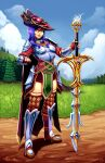 1girl arm_up armored_boots boots breasts cape checkered checkered_legwear clenched_hand clouds cloudy_sky commission dang_(runescape) dirt duellist's_cap_(tier_6) fingerless_gloves full_body gloves grass grin hat highres long_hair looking_afar looking_away looking_to_the_side outdoors pine_tree plate_armor purple_hair ravenousruss runescape saradomin_godsword second-party_source shiny_lips sky small_breasts smile solo source_request standing sword thigh-highs tree weapon yellow_eyes zettai_ryouiki
