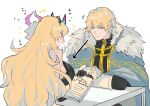 1boy 1girl arms_on_table bare_shoulders blonde_hair blue_cape blue_eyes blush book breasts cape english_text fairy_knight_gawain_(fate) fate/grand_order fate_(series) fur-trimmed_cape fur_trim gauntlets gawain_(fate) hair_between_eyes highres holding holding_book horned_headwear horns long_hair looking_at_another looking_at_breasts open_mouth red_eyes sidelocks smile white_background x10-a