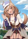 1girl absurdres animal_ears brown_hair choker commentary_request day ear_ribbon ears_through_headwear garter_straps highres horse_ears horse_girl horse_tail leaning_forward long_hair long_sleeves looking_at_viewer matikane_tannhauser_(umamusume) multicolored_hair navel open_mouth outdoors shorts skindentation solo streaked_hair tail thigh-highs umamusume wanimaru waving