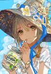 1girl bangs blue_sky brown_eyes brown_hair brown_headwear closed_mouth clouds cloudy_sky commentary_request conch cup day drinking_straw eyebrows_visible_through_hair flower hair_between_eyes hat hat_flower highres holding holding_cup looking_at_viewer mug original outdoors qooo003 shirt short_sleeves sky smile solo upper_body white_shirt yellow_flower