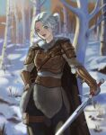 1girl absurdres alternate_costume armor bangs belt blurry blurry_background brown_belt brown_gloves ciri closed_mouth commentary english_commentary forest fur_collar fur_trim gloves green_eyes hand_on_hip highres holding holding_sword holding_weapon leather_armor lips looking_at_viewer medallion nature orhicam outdoors pants pouch scar scar_across_eye short_hair silver_hair smile snow solo standing sword the_witcher_(series) the_witcher_3 thigh_pouch thigh_strap tree weapon winter winter_clothes