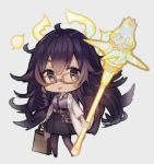 1225ka 1girl :p belt_pouch briefcase chibi dorothy_(sinoalice) full_body glasses grey_background halo highres holding holding_briefcase holding_weapon labcoat leggings long_hair long_sleeves looking_at_viewer mace polo_shirt pouch purple_hair purple_shirt purple_skirt reality_arc_(sinoalice) shirt simple_background sinoalice skirt solo tongue tongue_out violet_eyes weapon