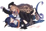 2girls animal_ears arknights artist_name black_footwear black_gloves black_headwear blonde_hair blue_hair ch'en_(arknights) character_name cuffs dragon_girl dragon_horns dragon_tail drill_hair drill_locks face-to-face fingerless_gloves gloves hinagi_(fox_priest) horns long_hair looking_at_another multiple_girls necktie open_mouth orange_neckwear profile side_drill simple_background sweatdrop swire_(arknights) tail tail_ornament tail_ring thigh-highs tiger_ears tiger_girl tiger_tail very_long_hair white_background yuri