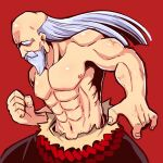 1boy abs beard black_pants clenched_hand commentary_request facial_hair floating_hair highres long_hair male_focus monk_(sekaiju) muscular muscular_male mustache naga_u navel pants red_background sekaiju_no_meikyuu sekaiju_no_meikyuu_3 shirtless silver_hair simple_background solo thick_eyebrows very_long_hair