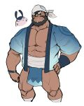 1boy absurdres alternate_costume archie_(pokemon) beard black_eyes blue_jacket brown_hair clenched_hand clothing_request commentary_request dark-skinned_male dark_skin facial_hair gen_2_pokemon hand_on_hip highres jacket knees korean_commentary looking_at_viewer maldu_(chokeylover) male_focus mantine muscular muscular_male open_clothes open_jacket parted_lips pectorals pokemon pokemon_(creature) pokemon_(game) pokemon_oras sharp_teeth short_hair short_sleeves sketch smile team_aqua teeth white_background white_bandana