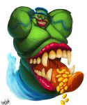 1boy arms_up artist_name colored_sclera colored_skin duel_monster fat gold_coin green_skin grin highres karrkadula looking_at_viewer male_focus mimic monster open_mouth pot_of_greed red_sclera saliva simple_background smile solo teeth tongue tongue_out white_background yu-gi-oh!