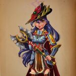 1girl axe blue_hair cape checkered checkered_legwear chrissie_zullo commentary cowboy_shot dang_(runescape) duellist's_cap_(tier_6) english_commentary fantasy fingerless_gloves fire gloves hat highres holding holding_weapon lipstick long_hair looking_at_viewer makeup orange_eyes paper_background plate_armor procreate_(medium) purple_fire red_lips runescape simple_background solo thick_eyebrows toon_(style) weapon