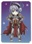 1boy armor armored_boots bangs blue_background boots breastplate cape chibi closed_mouth commentary_request eyebrows_visible_through_hair flower flower_in_mouth full_body gauntlets gradient gradient_background grey_hair hair_between_eyes headphones leg_armor looking_at_viewer lowres musical_note pauldrons poring purple_background ragnarok_online red_cape reona_amane rune_knight_(ragnarok_online) short_hair shoulder_armor smile solo spiked_pauldrons standing star_(symbol) white_flower