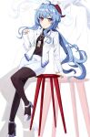 1girl absurdres ahoge alternate_costume arm_support bangs bar_stool black_legwear blue_hair commentary_request contemporary eyebrows_visible_through_hair full_body ganyu_(genshin_impact) genshin_impact h2so4-c hair_between_eyes high_heels highres horns id_card long_hair long_sleeves looking_at_viewer office_lady pencil_skirt red_eyes sidelocks simple_background sitting skirt smile solo stool uniform zoom_layer