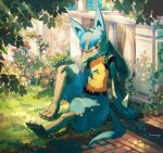 arm_support commentary_request day flower full_body furry gen_4_pokemon grass highres looking_to_the_side lucario nagakura_(seven_walkers) outdoors pokemon pokemon_(creature) red_eyes signature sitting solo spikes toes yellow_fur
