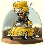 bumblebee car chibi motor_vehicle musical_note riding toriny transformers vehicle volkswagen volkswagen_beetle