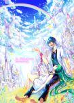 closed_eyes cloud clouds hatsune_miku kaito land lying multicolored_hair musical_note notes prism rainbow red_string sky vocaloid