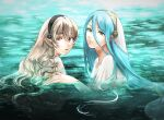 2girls azura_(fire_emblem) bangs bathing bavaa black_headband blue_hair closed_mouth commentary corrin_(fire_emblem) corrin_(fire_emblem)_(female) fire_emblem fire_emblem_fates grey_hair hair_between_eyes hair_tubes headband in_water long_hair looking_at_viewer manakete multiple_girls panties parted_bangs partially_submerged pointy_ears red_eyes shirt underwear veil very_long_hair water wet wet_clothes wet_hair wet_shirt white_shirt white_veil yellow_eyes