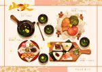 board commentary_request cup cyannism dango drink floral_background flower food food_request green_tea highres napkin no_humans onigiri original petals plate rice seaweed tea teacup teapot translation_request wagashi yellow_flower