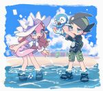 1boy 1girl ;d bow caitlin_(pokemon) clouds day dress eyelashes gen_4_pokemon green_shorts hat hat_bow highres holding holding_pokemon one_eye_closed open_mouth outdoors pink_dress piplup pokemon pokemon_(creature) pokemon_(game) pokemon_dppt pokemon_platinum sand sandals scrunchie shiny shiny_skin shore shorts sky smile standing thorton_(pokemon) toes tongue tora_(ctiger) twitter_username wading water white_bow white_headwear wrist_scrunchie younger