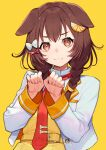 1girl :3 absurdres animal_ears bangs bone_hair_ornament bow braid brown_hair buckle closed_mouth cropped_jacket dog_ears eyebrows_visible_through_hair food-themed_hair_ornament hair_bow hair_ornament highres hololive inugami_korone jacket long_hair long_sleeves looking_at_viewer necktie open_clothes open_jacket orange_hair_ornament paw_pose red_eyes red_neckwear simple_background solo twin_braids unbuttoned upper_body v-shaped_eyebrows virtual_youtuber white_bow white_jacket yellow_background yuu_(higashi_no_penguin)