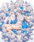 1girl bandaid bandaid_on_arm bandaid_on_hand bandaid_on_leg biting blue_eyes blue_flower blue_hair blue_nails braid cactus chain dog dress eating flower food full_body harness hat hat_flower highres holding holding_food holding_leash ice_cream leash minami_(minami373916) multicolored_hair muzzle nail_polish original pinky_out popsicle shoes single_braid smile solo sun_hat two-tone_hair white_dog white_dress white_footwear white_hair