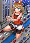 1girl bangs bare_arms bare_shoulders bike_shorts black_shorts blue_eyes blush brown_hair building camisole car closed_mouth commentary commission english_commentary eyebrows_visible_through_hair full_body giant giantess ground_vehicle hair_between_eyes hair_ribbon hairband highres holding kazenokaze lamppost lotus_(brand) lotus_evora may_(pokemon) motor_vehicle no_shoes one_knee pokemon pokemon_(anime) red_camisole red_hairband red_legwear red_ribbon ribbon road short_shorts shorts shorts_under_shorts sidelocks smile socks solo vehicle_request water white_shorts window