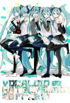 5girls :p aqua_eyes aqua_hair aqua_nails aqua_neckwear bare_shoulders barefoot belt black_legwear black_skirt black_sleeves boots commentary confetti copyright_name detached_sleeves from_side full_body grey_shirt hair_ornament hand_up hatsune_miku hatsune_miku_(nt) hatsune_miku_(vocaloid3) hatsune_miku_(vocaloid4) headphones headset higasizora-kai hip_gear layered_sleeves leg_up light_frown lineup long_hair looking_at_viewer miku_append miniskirt multiple_girls multiple_persona nail_polish neck_ribbon necktie one_eye_closed piapro pleated_skirt ribbon shadow shirt shoulder_tattoo skirt sleeveless sleeveless_shirt smile standing standing_on_one_leg tattoo thigh-highs thigh_boots tongue tongue_out twintails v v4x very_long_hair vocaloid vocaloid_append w white_background white_shirt white_sleeves zettai_ryouiki
