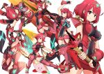 1girl absurdres aegis_sword_(xenoblade) asyura_kumo bangs black_gloves breasts chest_jewel earrings fingerless_gloves gem gloves headpiece highres huge_filesize jewelry kirby kirby_(series) large_breasts multiple_views pyra_(xenoblade) red_eyes red_legwear red_shorts redhead short_hair short_shorts shorts super_smash_bros. swept_bangs sword thigh-highs tiara weapon xenoblade_chronicles_(series) xenoblade_chronicles_2