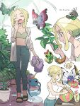 1girl ahoge alternate_costume beautifly blonde_hair blush_stickers butterfree caterpie chibi chibi_inset closed_eyes closed_mouth collarbone commentary_request dated eyelashes gen_1_pokemon gen_3_pokemon gen_6_pokemon green_eyes green_footwear gym_leader hand_up holding holding_leaf leaf medium_hair metapod multiple_views nibo_(att_130) open_mouth pants plant pokemon pokemon_(creature) pokemon_(game) pokemon_xy potted_plant sandals sliggoo smile spewpa standing surskit tearing_up themed_object toes tongue viola_(pokemon) vivillon vivillon_(garden) vivillon_(meadow) watering_can weedle yawning
