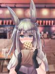 1girl absurdres al_ryude animal_ears arknights bag blue_eyes blush bread cafe chair eating english_commentary fingerless_gloves food frostnova_(arknights) gloves hair_ornament hairclip highres huge_filesize korean_commentary melon_bread mixed-language_commentary oripathy_lesion_(arknights) paper_bag rabbit_ears rabbit_girl scar scar_on_face scar_on_nose solo table white_hair