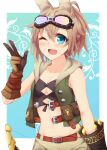 1girl absurdres animal_ear_fluff animal_ears belt black_shirt blue_background blue_eyes border bow_(weapon) breasts brown_belt brown_gloves brown_hair brown_shorts crop_top gloves goggles goggles_on_head green_hoodie highres holding holding_bow_(weapon) holding_weapon hood hood_down hoodie hound_(sekaiju) kemonomimi_mode kuzukiri_(riezenagel) looking_at_viewer navel one_eye_closed open_clothes open_hoodie open_mouth outside_border ria_(kuzukiri) sekaiju_no_meikyuu shirt short_hair shorts small_breasts smile solo standing w weapon white_border