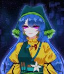 1girl apron artist_name bangs belt blue_hair bow breasts brush dress earrings eyebrows_visible_through_hair flower green_apron green_belt green_bow green_headwear green_scarf hair_between_eyes haniyasushin_keiki highres jewelry kfre_(gehm8472) long_hair long_sleeves looking_at_viewer medium_breasts night night_sky open_mouth pink_eyes pocket puffy_sleeves scarf shadow sheya_(style) sky smile solo star_(sky) starry_sky touhou upper_body white_flower yellow_dress