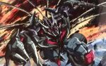 claws crowbar_(transformers) decepticon extra_eyes highres marble-v mecha no_humans open_hand red_eyes science_fiction solo transformers transformers_(live_action) v-fin