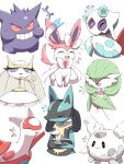 +++ :> absurdres closed_eyes closed_mouth commentary eyelashes fang froslass furry galarian_corsola galarian_form gardevoir gen_1_pokemon gen_3_pokemon gen_4_pokemon gen_6_pokemon gen_7_pokemon gen_8_pokemon gengar grin hand_up hands_together highres latias laughing legendary_pokemon lucario open_mouth pheromosa pokemon shabana_may smile spikes steepled_fingers sylveon teeth tongue ultra_beast white_background yellow_fur