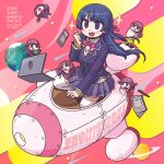 5girls album_cover black_hair black_jacket blazer blush bow bowtie braid brown_cardigan bucket cardigan cardigan_vest cellphone clover computer cover earth_(planet) eating french_braid hair_ornament hairclip highres jacket laptop long_hair minigirl multiple_girls multiple_persona nazono_mito nijisanji notebook official_art open_mouth pen phone pink_bow pink_neckwear plaid plaid_skirt planet riyo_(lyomsnpmp) rocket rocket_ship school_uniform second-party_source skirt smartphone smile space space_craft sparkle thigh-highs tsukino_mito virtual_youtuber washing_machine zettai_ryouiki