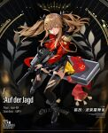 1girl artist_request black_bow black_dress black_footwear black_legwear boots bow breasts brown_hair character_name copyright_name dress english_text eyebrows_visible_through_hair girls_frontline gun h&k_ump hair_bow highres holding holding_weapon jacket long_hair looking_at_viewer official_art open_mouth red_eyes red_jacket scar scar_across_eye simple_background solo standing submachine_gun tape thigh-highs torn_clothes torn_dress torn_jacket torn_legwear twintails ump9_(girls_frontline) uniform weapon weapon_case