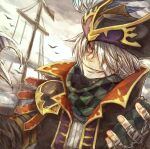 1boy animal bandage_over_one_eye bandaged_hand bandages black_coat black_headwear checkered checkered_clothing checkered_scarf claw_(weapon) clouds cloudy_sky coat feathers fingernails glint grin hair_over_one_eye hat hat_feather looking_at_viewer male_focus moekemari open_clothes open_coat open_hand orange_eyes outdoors pirate pirate_hat pirate_ship purple_headwear puzzle_&_dragons scarf sky smile solo weapon