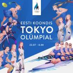 2020_summer_olympics 6+boys 6+girls ball bicycle_helmet blonde_hair braid brown_hair estonian_flag estonian_text fencing fencing_suit helmet highres holding holding_sword holding_weapon long_hair medium_hair monq multiple_boys multiple_girls olympics racket riding_bicycle rowboat rowing short_hair sportswear sword tennis_ball tennis_racket twin_braids weapon wrestling_outfit