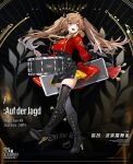 1girl artist_request bangs black_bow black_dress black_footwear black_legwear blush boots bow breasts brown_hair character_name copyright_name dress drum drumsticks english_text eyebrows_visible_through_hair girls_frontline hair_bow highres holding holding_drumsticks instrument jacket long_hair looking_away official_art open_mouth red_eyes red_jacket scar scar_across_eye simple_background smile solo standing tape thigh-highs twintails ump9_(girls_frontline) uniform weapon_case