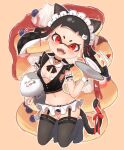 1girl :d animal_ears armband bangs bell black_bow black_hair black_legwear black_neckwear blush bow bowtie breasts breasts_apart cake cake_slice cat_ears cat_tail character_request collar commentary_request detached_collar earrings fangs food frills fruit full_body garter_straps highres holding holding_tray inkling jewelry kemonomimi_mode kneeling long_hair looking_at_viewer maid maid_headdress microskirt midriff mole navel neck_bell no_shoes open_mouth outline plate pleated_skirt pointy_ears red_bow red_eyes ribbon shirt short_eyebrows skindentation skirt sleeveless small_breasts smile solo splatoon_(series) strawberry_shortcake stud_earrings tail tail_bow tail_ornament tail_ribbon tentacle_hair thigh-highs tray wanimaru white_skirt wrist_cuffs