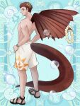 1boy blue_background brown_eyes brown_wings bubble horns junmistral kerberos_blade lei looking_back male_focus male_swimwear sandals scar scar_on_face shirtless short_hair simple_background solo standing swim_trunks swimsuit tachi-e tail watch watch wings