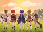 3d_background 5girls absurdres ahoge animal_ears animal_hood backpack bag basket bell black_scarf black_shorts bloomers boots bow braid brown_footwear brown_gloves brown_hair cabbie_hat candy_rimo cape cat_ears cat_girl cat_tail chinese_clothes coat commentary detached_sleeves diona_(genshin_impact) english_commentary fake_animal_ears fake_tail from_behind full_body genshin_impact gloves hair_bow hair_ribbon hat hat_feather hat_ornament highres holding_hands hood hooded_coat japanese_clothes jiangshi klee_(genshin_impact) knee_boots kneehighs light_brown_hair long_hair long_sleeves low_ponytail low_twintails multiple_girls ninja ofuda orb pink_hair pointy_ears puffy_shorts puffy_sleeves purple_hair qing_guanmao qiqi_(genshin_impact) raccoon_ears raccoon_tail randoseru red_coat red_headwear ribbon sayu_(genshin_impact) scarf short_hair short_sleeves shorts sidelocks single_braid standing tail thigh-highs twilight twin_braids twintails underwear vision_(genshin_impact) white_legwear yaoyao_(genshin_impact) yin_yang yin_yang_orb zettai_ryouiki