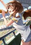1girl animal_ears arm_up bangs blush bone_hair_ornament braid breasts brown_hair closed_eyes commentary_request confetti cowboy_shot crowd dog_ears dog_girl dog_tail from_side hair_ornament hair_tie hand_up highres holding holding_megaphone hololive inugami_korone kito_koruta long_hair megaphone open_mouth shirt short_sleeves signature solo_focus stadium standing striped striped_shirt tail tail_raised twin_braids upper_teeth vertical-striped_shirt vertical_stripes virtual_youtuber white_shirt