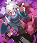 1girl arm_up bass_guitar black_footwear blue_eyes boots commentary_request dress fingernails gen_1_pokemon gen_5_pokemon gym_leader hair_bobbles hair_ornament highres holding holding_instrument holding_plectrum instrument koffing looking_at_viewer necro_ro open_mouth poke_ball_print pokemon pokemon_(creature) pokemon_(game) pokemon_bw2 roxie_(pokemon) scolipede spiky_hair striped striped_dress teeth tongue topknot two-tone_dress white_hair