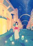 1girl bangs black_hair blush hand_up highres japanese_clothes kimono looking_at_viewer original sandals shadow sky smile solo star_(sky) star_(symbol) starry_sky tabisumika tanabata tower white_kimono wide_shot yukata