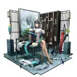 1girl arknights arm_rest bangs bare_legs bead_bracelet beads black_hair blue_flower bonsai bracelet breasts china_dress chinese_clothes closed_mouth colored_skin commentary_request crossed_legs dragon_girl dragon_horns dragon_tail dress dusk_(arknights) earrings feather_boa flower flower_pot full_body green_hair green_skin hand_fan high_heels highres holding holding_fan horns indoors jewelry leaf long_hair looking_at_viewer medium_breasts multicolored_hair paper_fan picture_(object) plant pointy_ears potted_plant print_dress red_eyes scroll shelf short_sleeves sidelocks sitting sitting_on_table solo streaked_hair sword tail uchiwa weapon white_dress yellow_flower yuuki_mix